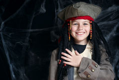 Little boy wearing pirate costume. Halloween stock image