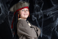 Little boy wearing pirate costume Stock Photos