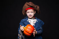 Little boy wearing pirate costume. Halloween. Royalty Free Stock Photography