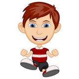 Little boy wearing a red shirt cartoon vector illustration Stock Photography