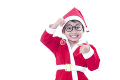Little boy wearing Santa Claus uniform. Royalty Free Stock Photography