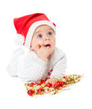 Little boy wearing a Santa hat Stock Photography