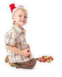 Little boy wearing a Santa hat Royalty Free Stock Photography