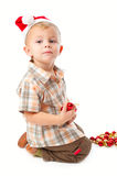 Little boy wearing a Santa hat Royalty Free Stock Images