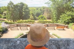Boy at the lookout in the Terrace Gardens stock images