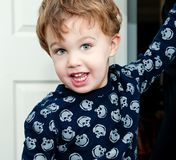 Little Boy Wearing T Shirt With Skulls Stock Images
