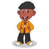Little boy wearing a yellow jacket and black trousers style cartoon Royalty Free Stock Photography