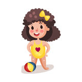 Little boy wearing yellow swimsuit playing with a ball, kid having fun on the beach colorful character  Illustration Royalty Free Stock Photography