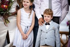 Little boy at a wedding ceremony royalty free stock photography