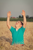 Little boy in wheat field Stock Photo