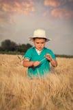 Little boy in wheat field Stock Photography
