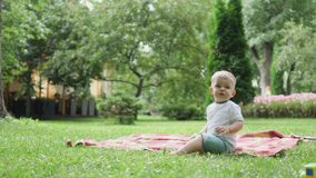Little boy whines in the park sitting on plaid stock video footage