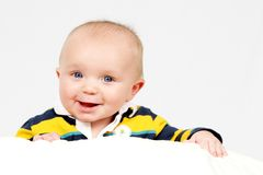Little Boy on white stock images