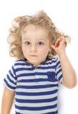 Little boy on white background Royalty Free Stock Image