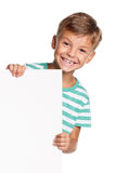 Little boy with white blank Royalty Free Stock Photos