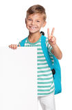 Little boy with white blank Stock Photography