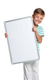 Little boy with white blank. Portrait of happy little boy with white blank isolated on white background royalty free stock images