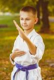 Little boy in white kimono during training karate Royalty Free Stock Image