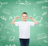 Little boy in white t-shirt with raised hands Royalty Free Stock Photo