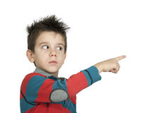 Little boy who points a finger Stock Photos
