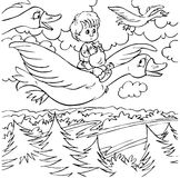 Little boy and wild geese. Black-and-white illustration (coloring page) with characters of a folk tale: little boy flying in a flock of wild geese Stock Photography
