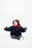 Little boy in the winter Stock Photos