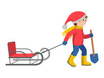 Little boy in winter clothes pulling a sled, cartoon style vector illustration  on white background. Royalty Free Stock Photography