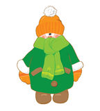 Little_boy_in_winter_green_fur. Little boy in winter green fur and orange cap Royalty Free Illustration