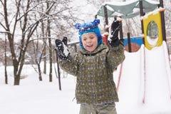 Little boy on winter playground Stock Photography