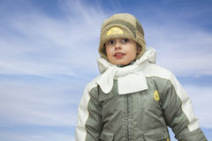Little boy winter portrait. Stock Image