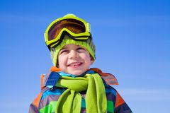 Little boy in winter resort Royalty Free Stock Photos