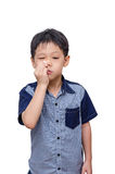 Little boy wipes his nose by tissue paper Royalty Free Stock Photo