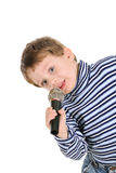 Little Boy With A Microphone Over White Stock Images