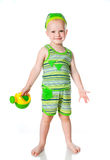 Little Boy With A Watering Can Stock Images