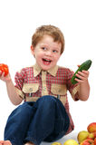Little Boy With Fruit And Vegetables Stock Photo