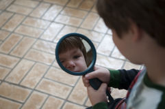Little Boy With Mirror Royalty Free Stock Photo