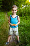 The little boy in the woods Stock Photography