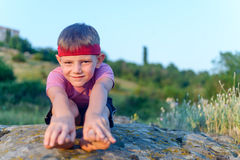 Little boy working out Royalty Free Stock Photos
