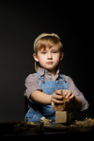 Little boy working with plane Stock Photography
