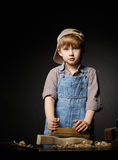 Little boy working with plane Royalty Free Stock Image