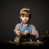 Little boy working with plane Royalty Free Stock Photo