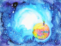 Little boy on the world in universe illustration watercolor painting vector illustration