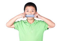 Little boy with wrapping adhesive tape around mouth, rights of a child, isolated on white background Stock Photography