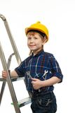 Little boy with wrench tool Royalty Free Stock Photo