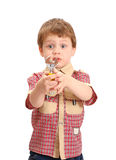 Little boy with a wrench on white Stock Image