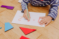 Little boy writing numbers, early education Royalty Free Stock Image