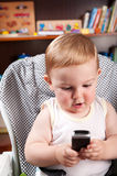Little boy writing sms Royalty Free Stock Image