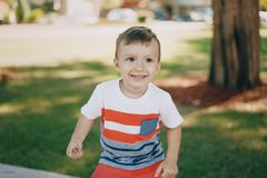 Little boy 7 year park royalty free stock photography