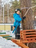 Little boy mountaineering royalty free stock images