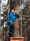 Little boy mountaineering stock photography